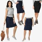 Womens Denim Pencil Skirt Vintage A Line Ladies Classic Knee Long Size 8-18