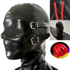 Latex Rubber Hood with Removable Eyes and Mouth Mask Open Eyes Mouth Back Zipper