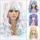 Women's Lolita Wig with 2 Ponytail Clip in Full Bangs Long Curly Anime Synthetic