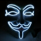 LED Light Up Mask V for Vendetta Anonymous Guy Fawkes Halloween Cosplay Props