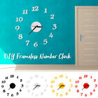 Large Wall Number Clock Modern Acrylic Sticker Quiet Home Bedroom DIY Decoration