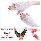 4 Colors Women Short Lace Floral Fingerless Gloves Gothic Bride Wedding Mittens