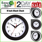 Ess Black Wall Mounted Clock Home Office Room Large Number Metal Hand Glass Lens
