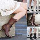 US Women's Autumn Leather Steampunk Boots Lace Up High Heel Pointed Toe Booties