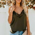 Women V-Neck Lace Tops Casual Tank Sleeveless Blouse Camisole Loose Vest T-Shirt