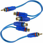 """2x 30cm 11"""" RCA Audio Jack Cable Y Splitter Adapter 1 Male to 2 Female Plug 2Pcs"""
