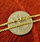 10K Solid Yellow Gold Necklace Rope Chain 16'' - 30  1mm 1.5mm 2mm 2.5mm 3mm 4mm