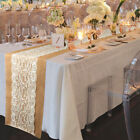 1/5Pcs Burlap Hessian Centre Lace Wedding Table Runner Vintage Rustic Country