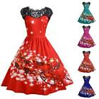 Womens Christmas Midi Swing Dress Ladies Sleeveless Lace Xmas Party Skater Santa