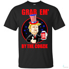 Grap Em' By The Coozie Beer 4th Of July Donald Trump Funny Mens T-Shirt BlackTee