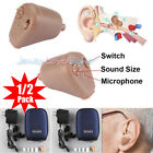 2Packs Rechargeable Digital Hearing Aids Mini In Ear Adjustable Tone Amplifier