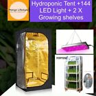 Hydroponic growing tent, LED light and growing shelves