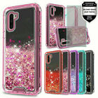 For Samsung Galaxy Note 10,10 Plus  Transparent  Glitter Case + Tempered Glass