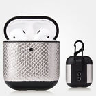 Snake Skin Leather Cover For Apple AirPods 2 1 Wireless Charging Case Airpod Box