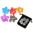 Colour 7 Piece Polyhedral Set Cloud Drop Translucent Teal RPG DnD With Dice SL