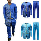 Men's Luxury African Print Long Sleeve Dashiki Shirt Suit Newest Hot Sale Fits