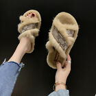 Womens Fur Fluffy Sliders Sandals Flat Comfy Slides Slippers Casual Winter Shoes