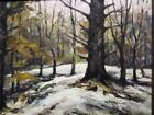 Oil Painting Impressionist American Art Signed Winter Trees Snow Landscape LOOD