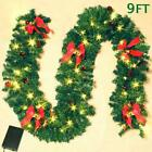 Atdawn 9 Foot Lighted Christmas Garland With 50 Led Lights, 8 Red Pine Cones, 8