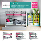 2-in-1 Solid Pine Timber Bunk Bed Frame Children Convertible Storage Single Grey