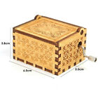 Handmade Wooden Music Box Hand Cranked Crafts Ornaments Kids Birthday Gifts Toy