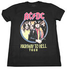 ACDC HIGHWAY TO HELL TOUR T-SHIRT BLACK MENS CLASSIC ROCK MUSIC TEE NEW image