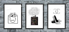 Set of 3 Coco Chanel Grey Wall Art Print Room Bedroom Poster Watercolour Gift