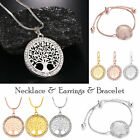 925 Sterling Silver Necklace Pendant Earrings Bracelet Tree Of Life Crystal
