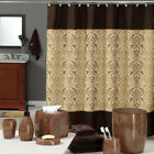 DS BATH Chocolate and Brown Polyester Waterproof Fabric Printed Shower Curtain