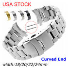 US Stainless Steel Watch Band Double-Lock Buckle Curved Ends Link Bracelet Strap