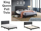 Platform Upholstered PU ContemporaryBed Frame Headboard King Queen Full Twin