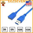 USB 3.0 Extension Extender Cable Cord M/F Standard Type A Male to Female Blue