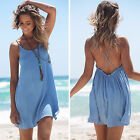 Womens Beach Wear Swimwear Cover Up Party Mini Sun Dress Bikini Loose Plus Size