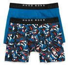 BOSS Hugo Boss 2-Pack Men's Cotton Stretch Boxer Briefs Print/Solid Teal
