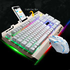 Computer Gaming Keyboard RGB LED with Mouse Backlit Mechanical Feeling Keyboard