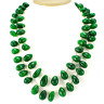615.00 CTS AWESOME 2 LINE GREEN EMERALD PEAR BEADS NACKLACE