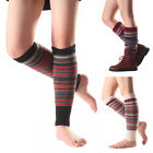 Women Striped Knitted Leg Warmers Winter Footless Knee High Boot Socks Novelty