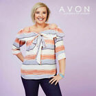 NEW AVON LADIES PRETTY STRIPED PRINTED BOW OFF SHOULDER TUNIC TOP SZ 14 16 18 20