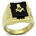 Stainless Steel Square Onyx Masonic Ring with 6 CZ Stone IP 14 kt. 316   11