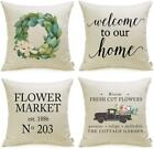 Farmhouse Pillow Covers Set Of 4 With Flower Market Welcome Quote 18 X 18 Inch F