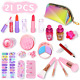 Auney Girls Makeup Kit Real Kids Make Up Set with Cute Cosmetic Bag, Washable photo