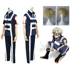 My Hero Academia Katsuki Bakugou Cosplay Costume Sport Gym Uniform + Gold Wigs