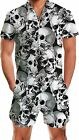 RAISEVERN Men's Rompers Male Zipper Jumpsuit Shorts One Piece Outfits Bro Xmas S