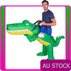 Mens Inflatable Green Crocodile Costume Alligator Carry Me Adult Rider Blow Up