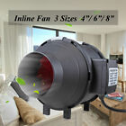 4/6/8 Inch Inline Duct Fan Exhaust Air Blower Booster Power 60W 70W 190W Black