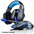 3.5mm Gaming Headset MIC LED Headphones for PC Deep Bass Stereo & GAME MOUSE 🖱