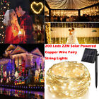72ft 200 LED Solar Rope Light Sensor Strip String Outdoor Garden Xmas Party Lamp