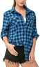 KENANCY Women's Plaid Shirts Long Sleeve Roll Up Classic Button Down Flannel Shi