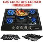 "Black 30"" 34"" 5 Burners Built-In Stove NG/LPG Gas Cooktops Hobs Stainless Steel photo"