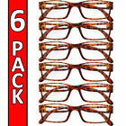 Reading Glasses Mens Womens Readers 6 PACK Square Frame Unisex Style Specs NEW